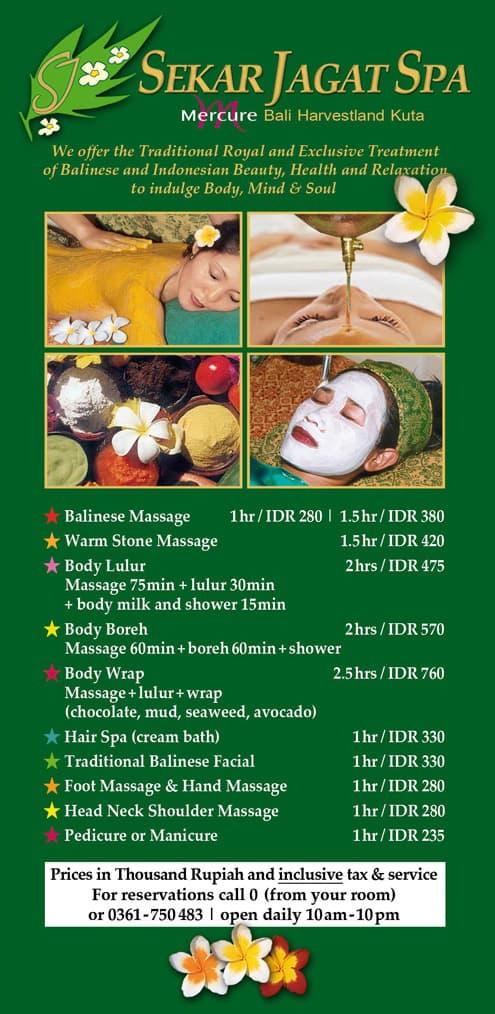 Spa at Mercure Kuta Harvestland: treatments and prices