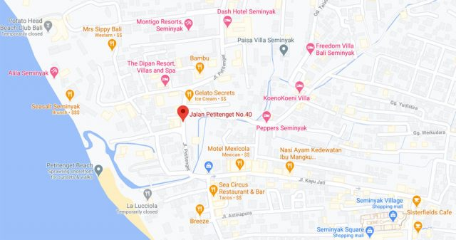 Map of restaurant for rent in Bali